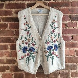 VTG IC Isaacs Knit Cottagecore Embroidered Vest